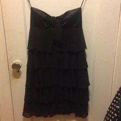 Strapless black ruffled cocktail dress Worn once strapless black ruffled cocktail dress Cache Dresses Strapless
