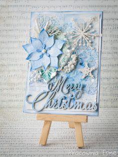 Kartka świąteczna w błękitach i srebrze - Blog Przyda Się - Scrapbooking