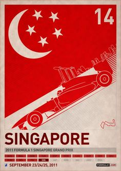 Set of 20 posters created to celebrate the start of the 2011 FIA Formula 1 World Championship season. Inspirations range from a number of courses, including vintage racing posters, the user interface of the 2010 videogame and the early work of James Wh… Nascar, Season Calendar, Stock Car, Singapore Grand Prix, Flyer And Poster Design, Poster Designs, Poster Series, Car Posters, Vintage Racing