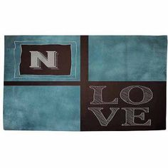 Thumbprintz Chalkboard Monogram Blue Rug