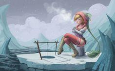 льдины, не клюет, замерзла, рыбалка, снег, девушка, зимняя