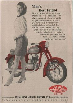 Jawa Motorcycle- Man's best friend  Ad from Mysore Manufacturing Plant