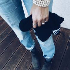 denim beanie pearls boots Beanie, Photo And Video, Pearls, Videos, Boots, Instagram, Casual Dress Outfits, Crotch Boots, Beads