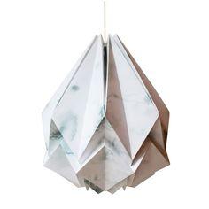 Suspension origami design en papier et aquarelle originale gris clair Tedzukuri Atelier | La Redoute