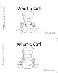 Cat Hat Theme Reproducible Book What A Color Words Kindergarten