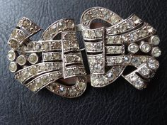 "vintage art deco BIG 2.5"" clear rhinestone duette dress clip brooch -C713"
