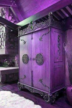 Purple Goth armoire with intricate details for a bedroom Purple Furniture, Gothic Furniture, Funky Furniture, Paint Furniture, Unique Furniture, Furniture Makeover, Furniture Removal, Purple Home, Antique Armoire