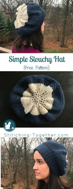 Make this quick and easy simple slouchy hat. Free crochet pattern