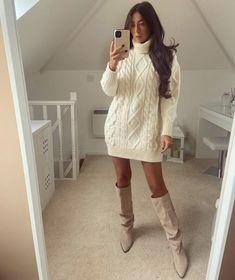 Thick Sweaters, Mini Dresses, Knitwear, Chill, Knitting, Boots, Fashion, Crotch Boots, Moda