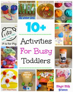 10 Activities For Busy Toddlers 10 Easy and Fun Toddler Arts and Books For ToddlersArt and Craft Supplies and Products for Ways To Play With Playdough That Kids Sensory Play Activities Kids Love Toddler Learning Activities, Craft Activities For Kids, Infant Activities, Indoor Activities, Toddler Play, Toddler Preschool, Toddler Snacks, Teach Preschool, Toddler Arts And Crafts