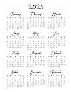 2021 Calendar Printable Free en 2020 | Planificador de la ...