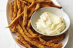 Baked sweet potato fries are great on their own, but these crunchy bites are taken to another level when served with garlicky mayonnaise. Kraft Foods, Kraft Recipes, Mayonnaise, Side Recipes, Dinner Recipes, Family Recipes, Drink Recipes, Yummy Recipes, Fast Food