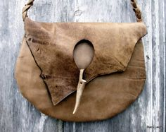 Rustic Taupe Natural Edge Leather Bag