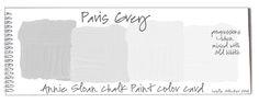 COLORWAYS  Annie Sloan Chalk Paint Paris Grey Progressions color card.  color + white = tints