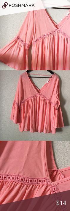 Boho Peach Colored Blouse Cute peach boho Blouse with crochet detail Tops