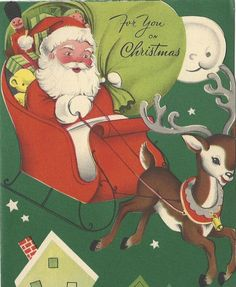 Vintage Christmas Card, Santa Claus with Sleigh and Reindeer,