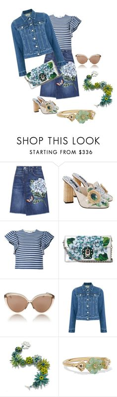 """""""Flower Power"""" by lindsaywassel ❤ liked on Polyvore featuring Dolce&Gabbana, MSGM, Linda Farrow, EGREY and BROOKE GREGSON"""