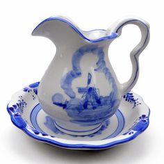 Ceramic Blue: Pitcher and Bowl Set