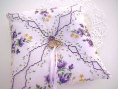 Wedding Ring Bearer Pillow Lavender and White by TwiningVines