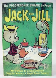 """May 1969 """"Jack and Jill"""" magazine cover featuring """"Pogo,"""" by Walt Kelly Vintage Comic Books, Vintage Comics, Funny Animal Comics, Disney Movie Posters, First Animation, Summer Books, Jack And Jill, Magazines For Kids, Comic Book Covers"""