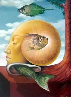 Mihai Criste is a creative Romanian painter who is fascinated by abstration, mystery and surrealism. He graduated from the Visual Arts Ac. Seashell Painting, Art Sculpture, Surrealism Painting, Art Textile, Art Academy, Art Moderne, Weird Art, Visionary Art, Fish Art