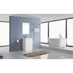 Photos On D Vanity in White with Ceramic Vanity Top in White with Basin and Mirror