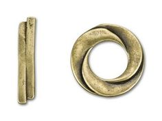 Antique Brass-Plated Pewter Three Circle Toggle Clasp $2.72
