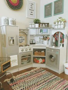 Cute play kitchen setup baby stuff kids playroom is one of images from playroom set up ideas. Find more playroom set up ideas images like this one in this gallery Diy Play Kitchen, Play Kitchens, Toddler Kitchen, Toy Kitchen, Kitchen Ideas, Backyard Playhouse, Toy Rooms, Big Girl Rooms, Basement Remodeling