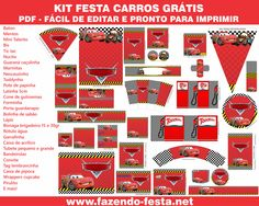 Kit Gratuito Festa Carros completo! Pronto para editar e imprimir grátis. Visite www.fazendo-festa.net