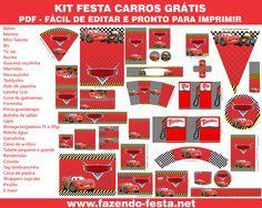 Kit Gratuito Festa Carros completo! Pronto para editar e imprimir grátis. Visite…