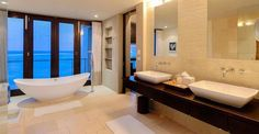 Just love this bath and the view from this home for sale in Anguilla - http://www.7thheavenproperties.com/real-estate/anguilla/little-harbour-beachfront-home-for-sale-5-bedroom/
