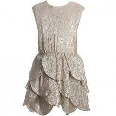 Dior - Gold Metallic Silk Dress | Childrensalon