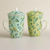 Indochine Floral Infuser Mugs, Set of 2