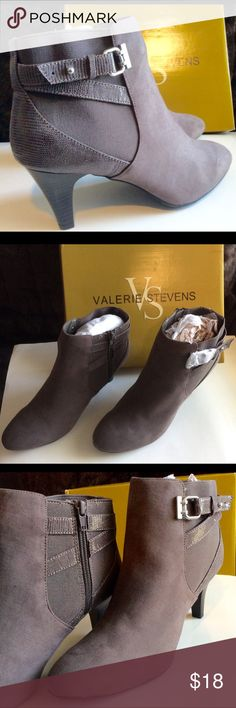 Beautiful, new in box, grey ankle boots! Never worn, new in box, grey-tan/brown, faux suede ankle boots! Valerie Stevens Shoes Ankle Boots & Booties