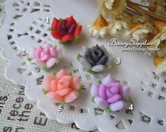 6pcs 12mm Polymer Clay flowers FIMO flowers Straight by baosy, $2.39