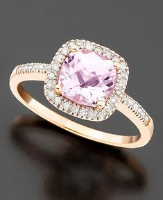 Sooo pretty! 14k Rose Gold Ring, Pink Amethyst (1-1/3 ct. t.w.) and Diamond (1/5 ct. t.w.) Cushion Cut Ring - Rings - Jewelry & Watches - Macy's