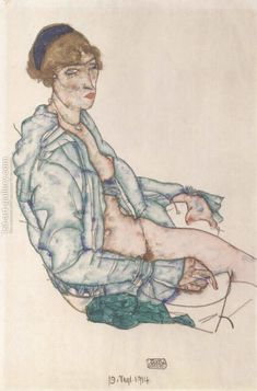 Sitting woman with blue hair ribbon Egon Schiele Reproduction | 1st Art Gallery