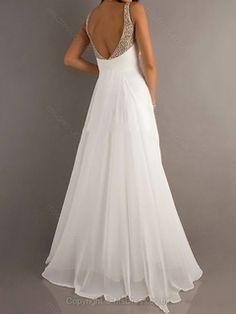 A-line Straps Chiffon Floor-length Ruffles Prom Dresses #02014888