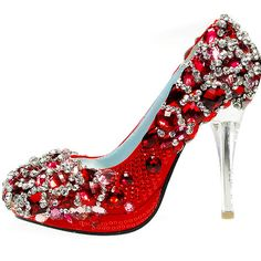 Ruby red heels with sparkling crystals
