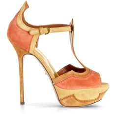 Sergio Rossi Empire Sandals ($522) ❤ liked on Polyvore featuring shoes, sandals, heels, ocher, leather sole shoes, buckle sandals, platform heel sandals, leather shoes and ankle tie sandals