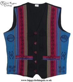 Turquoise and Black Nepalese Cotton Waistcoat with Printed Hippy Style Patterns