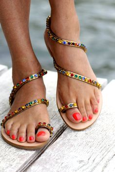 Sandals decorated with colorful Swarovksi by ElinaLinardaki