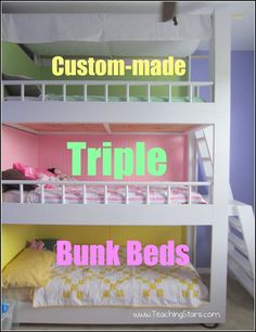 DIY Triple Bunk Beds Making A House Our Home – Part ll (Do want these if I ever have 3 kids :P ) Awesome Bedrooms, Cool Rooms, Shared Bedrooms, Girl Room, Girls Bedroom, Triple Bunk Beds, Double Beds, Pinterest Diy, Cool Beds