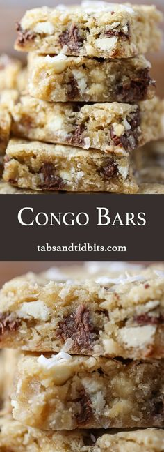 Congo Bars - Blondies with semisweet and white chocolate chips and toasted coconut!