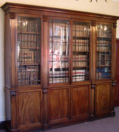 vintage library bookcase | ANTIQUE FURNITURE WAREHOUSE - Antique mahogany Library bookcase ...