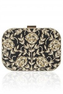 Black Floral Pearl Embroidered Square Box Clutch #bling #clutch #festivemode…