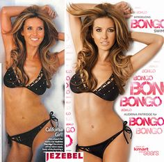Audrina Patridge: Original photo on left, image that ran on right. Her torso shape has been completely changed, her skin has been smoothed into an unreal plastic, her face is almost unrecognizable, and the roll on her waist disappeared (yes, rolls are completely normal even if you have low body fat). This is no longer a real woman - this is an illustration. #Feminism #Media #Photoshop