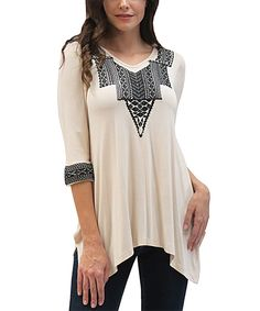 Look at this Caite Ivory Embroidered Talia Sidetail Tunic on #zulily today!