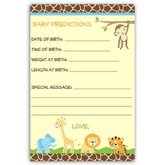 Have Guests Make Predicitions At Your Boy Baby Shower With This Jungle  Safari Themed Card Featuring