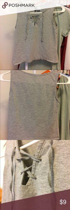 Grey laced up crop top Grey crop top from h&m H&M Tops Crop Tops